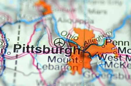 Pittsburg, Pennsylvania in the USA on the map