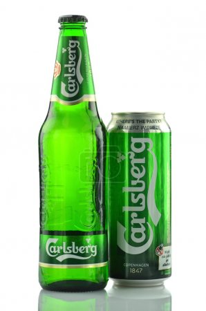 Photo for Carlsberg beer isolated on white background - Royalty Free Image