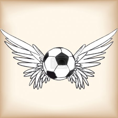 Illustration for Image of a soccer ball with angel wings - Royalty Free Image