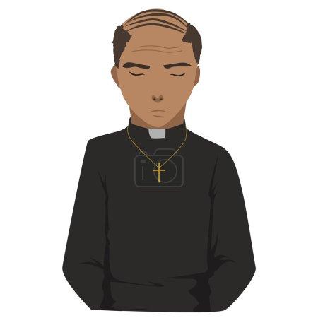 Illustration pour Image d'un prêtre en prière - image libre de droit