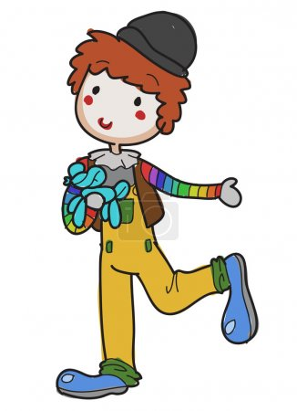Illustration for Image of a hand drawn clown performing his balloon act - Royalty Free Image