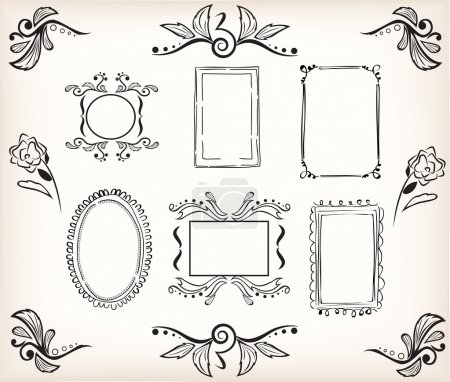 Illustration for Calligraphic victorian style borders and frames easy to use in your template or design - Royalty Free Image