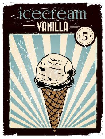 Illustration pour Crème glacée vanille vintage affiche avec des couleurs rétro et effet grunge - image libre de droit