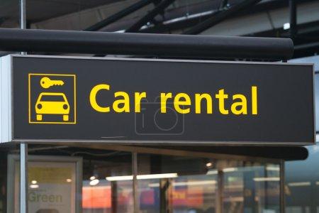 Car rental information sign