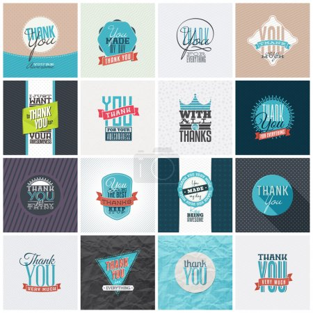 Illustration for Collection of 16 vintage Thank You card designs. Well structured vector file with each card template on separate layer. - Royalty Free Image