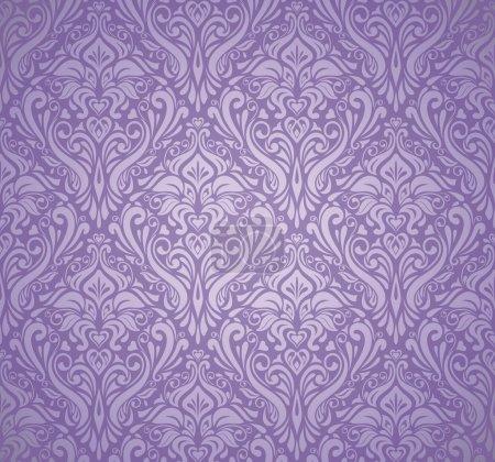 Illustration for Violet & silver vintage wallpaper - Royalty Free Image
