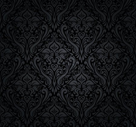 Illustration for Black and silver vintage wallpaper - Royalty Free Image