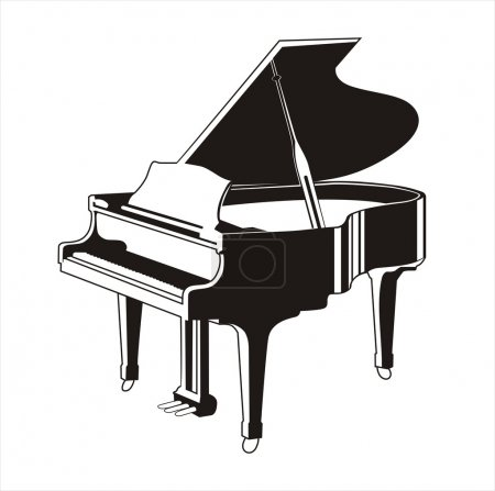 Illustration pour Silhouette piano à queue illustration vectorielle ligne noire - image libre de droit
