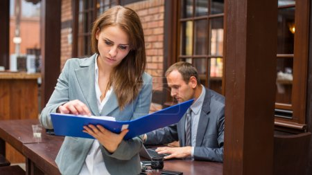 Photo for Hard working boss with his secretary - Royalty Free Image