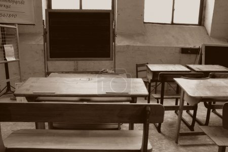 In an old classroom