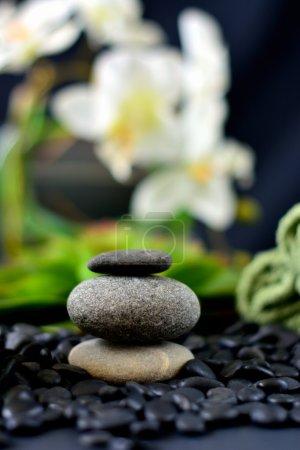 Photo pour Spa pierres et rochers fleurs blanches - image libre de droit