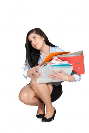 Woman with lots documents