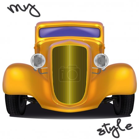 Illustration for Front view of yellow hot rod with the inscription My style formed by tire footprints, isolated on white background - Royalty Free Image