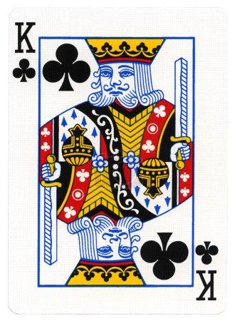 Photo pour Roi des clubs jouant à la carte, isolé sur fond blanc - image libre de droit