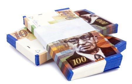 Isolated 100 NIS Bills Criss-Cross Stacks