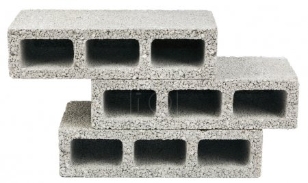 Photo for Three gray concrete construction blocks (a.k.a. cinder block, breeze block, cement block, foundation block, besser block, professional term: Concrete Masonary Unit - CMU) in a stack, isolated on white background. - Royalty Free Image