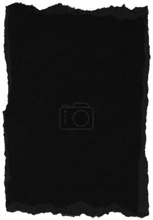 Photo pour Texture de papier de fibre noire avec des bords déchirés. Isolé sur fond blanc - image libre de droit