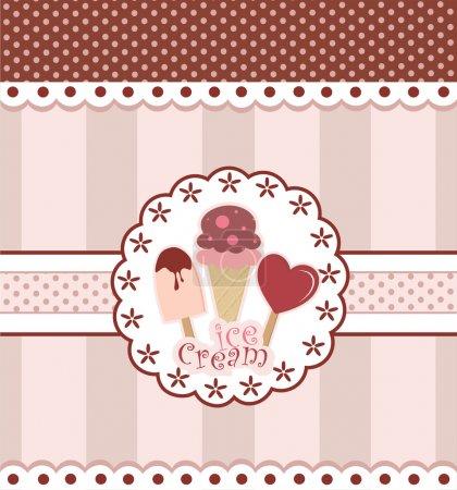 Illustration pour Carte sucrée avec crème glacée. illustration vectorielle - image libre de droit