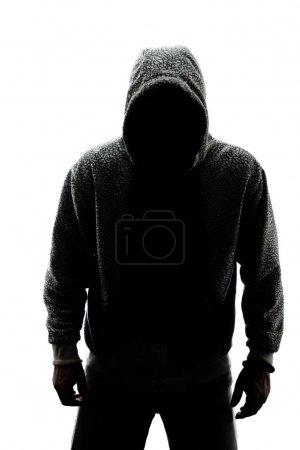 Mysterious man in silhouette isolated on white bac...