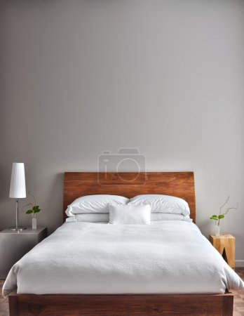 Photo for Beautiful Clean and Modern Bedroom with empty wall to add some text, logo, image, etc. - Royalty Free Image