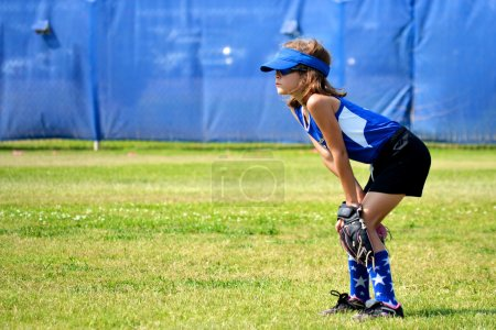 Softball Player Ready for the Next Play
