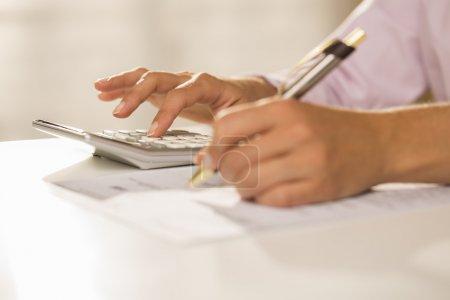 Female finger desk indoor white bill invoice...