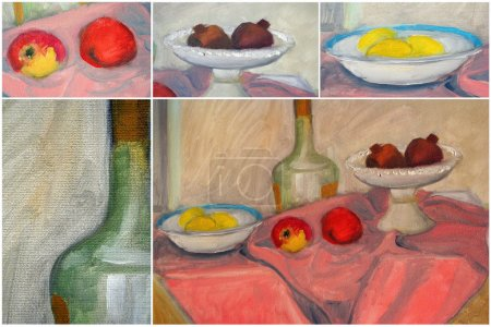 Still life painted canvas as background. Art is painted by photographer.