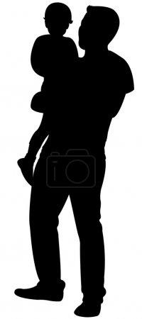 Illustration pour Père et fille ensemble, vecteur silhouette - image libre de droit