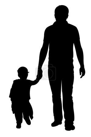 Illustration pour Père et fille marchant, vecteur silhouette - image libre de droit