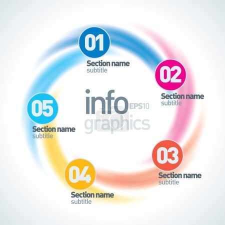 Abstract Infinite Paper Infographics. 5 Pieces Circle Shape