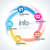 Abstract Infinite Paper Infographics 5 Pieces Circle Shape
