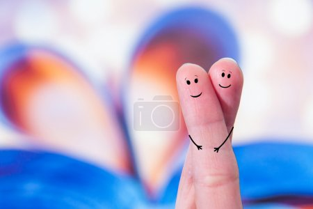 Photo for Two fingers in love before hearth background - Royalty Free Image