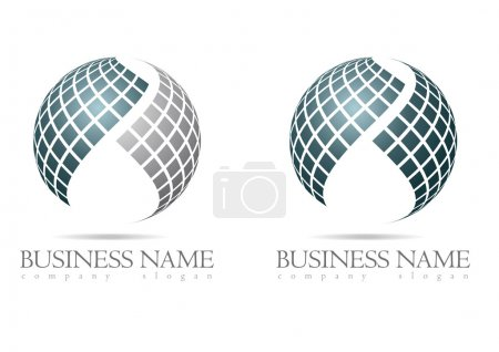 Illustration for Business logo in silver sphere design with blue and gray cubes - Royalty Free Image