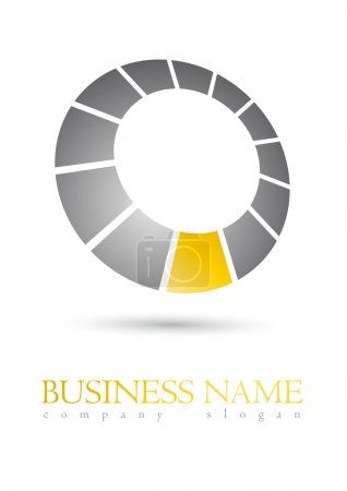 Illustration for Modern business logo metal circle design with orande segment - Royalty Free Image