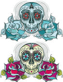 Vector sugar skull with roses Colorful and unicolour