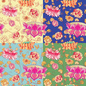 Flowers vector pattern with lotuses