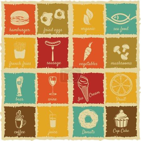 Photo pour Ensemble d'étiquettes d'aliments et de boissons vintage - image libre de droit