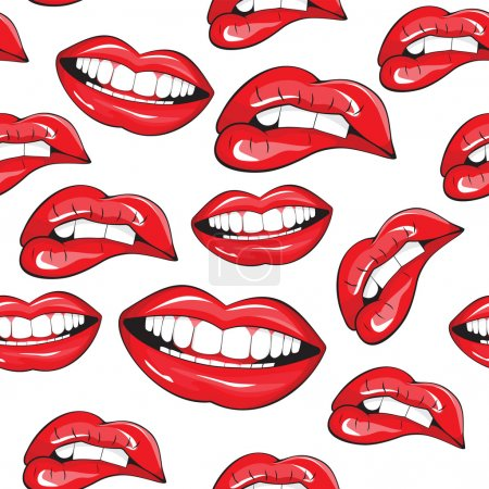 Illustration for Lips seamless pattern - Royalty Free Image