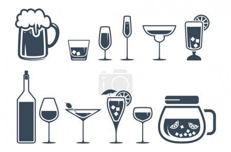 Illustration pour Ensemble d'icônes de boisson alcoolisée - image libre de droit