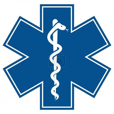 Illustration pour Étoile d'urgence - symbole médical serpent caducée avec bâton - image libre de droit