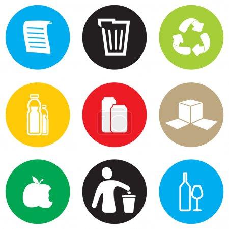conjunto de iconos reciclaje