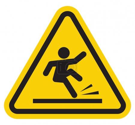 Illustration pour Panneau de signalisation sol mouillé - image libre de droit