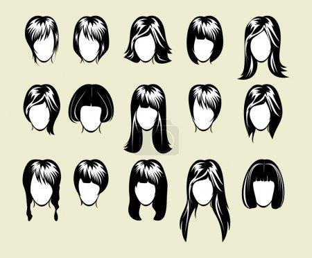 Illustration pour Grande collection de coiffure - image libre de droit