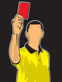 Soccer referee giving red card (football judge hand with red car