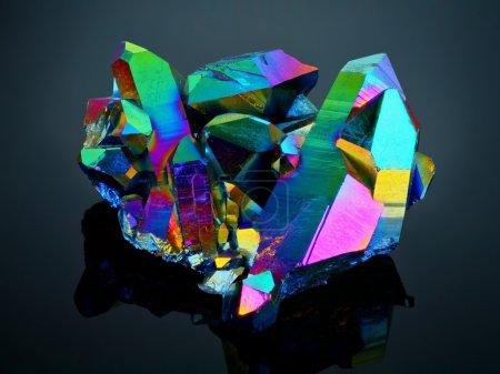 Extreme sharp Titanium rainbow aura quartz crystal cluster stone taken with macro lens stacked from many shots into one very sharp image.