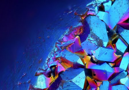 Photo for Extreme sharp and detailed surface of Titanium Aura Crystal Cluster stone at 20x magnification taken with Mitutoyo microscope objective - Royalty Free Image