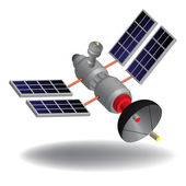 Isolated high tech communication satellite with various transponders antenna switching systems and solar cells