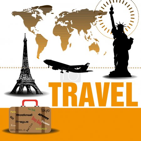Illustration for Abstract colorful background with the world map, the Statue of Liberty, the Eiffel Tower, a plane and a suitcase. Traveling concept - Royalty Free Image