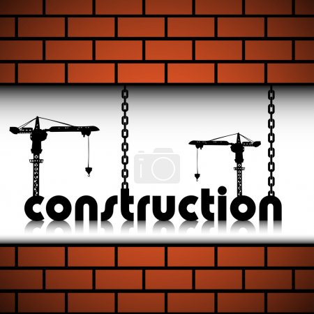 Illustration for Abstract colorful background with two cranes building up the word construction between two brick walls. Construction theme - Royalty Free Image