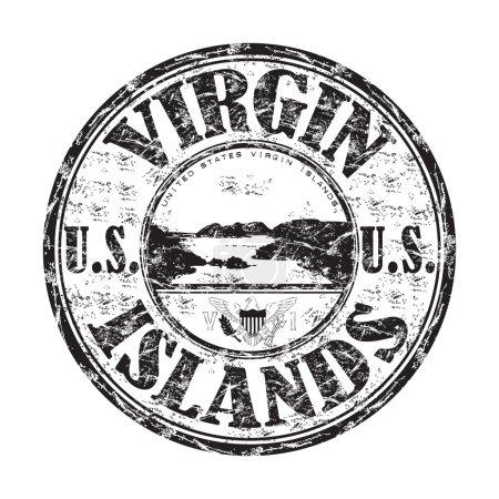 Illustration pour Timbre en caoutchouc grunge noir avec le nom des îles Vierges des États-Unis écrit à l'intérieur du timbre - image libre de droit